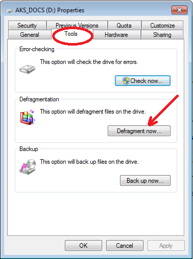 tips to speed up Windows 7 - Defragment