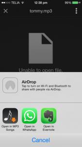 Send Music files through WhatsApp on iPhone
