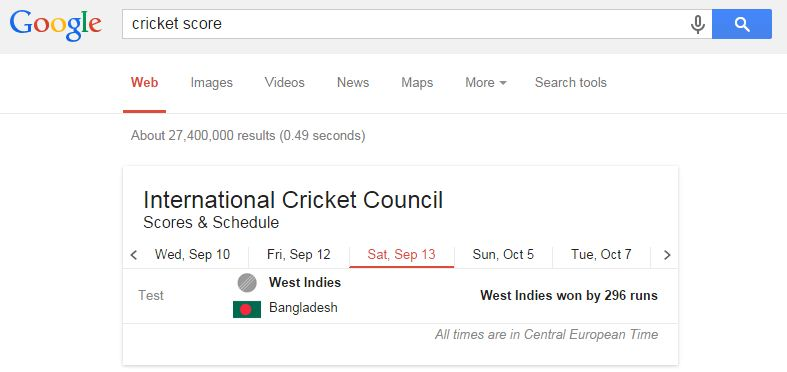 Google Facts-Cricket Scores and Fixtures