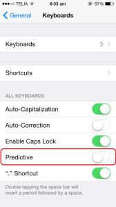 Turn off text prediction in ios 8