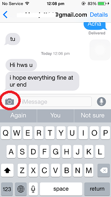 Send Video Message iOS 8 - Camera Button
