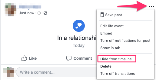 Hide Relationship status from Facebook timeline and friend's news feed