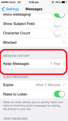 automatically delete messages ios 8 - Keep Messages