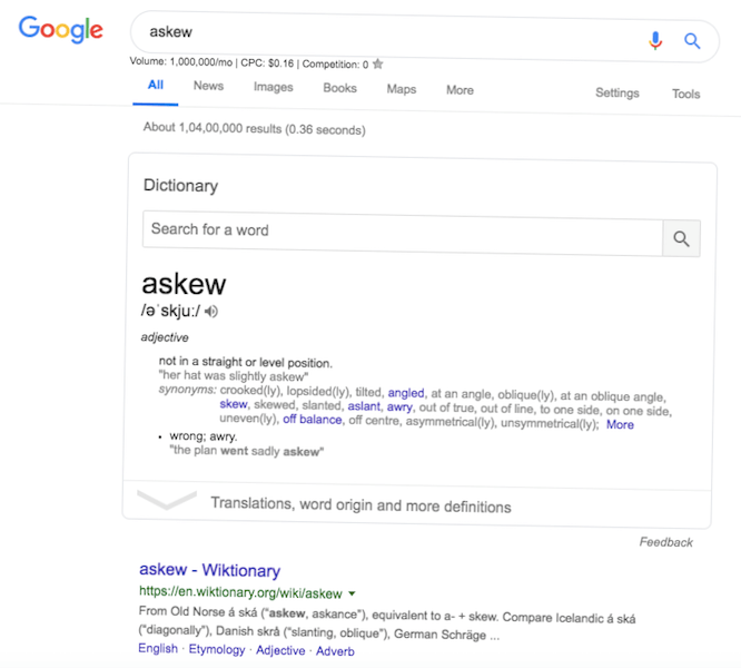 askew - Google search amazing tricks