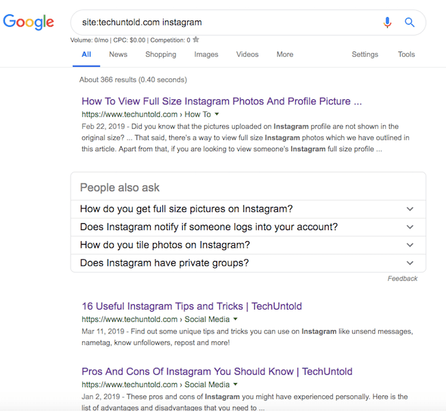 search results from a specific site - Google