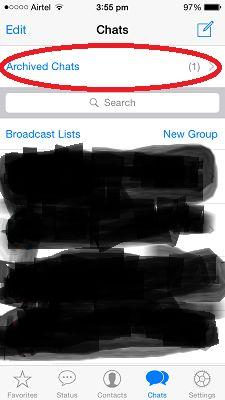 Hide chat in WhatsApp - Archived Chats