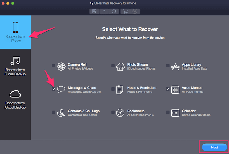 Select File Type To Recover - Stellar iPhone data recovery