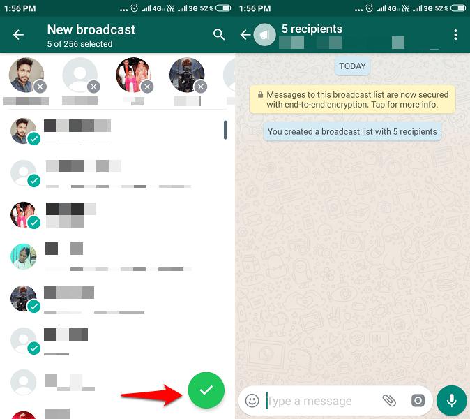 Broadcast on WhatsApp