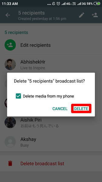 Delete Broadcast list