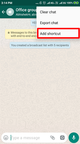 add broadcast list shortcut