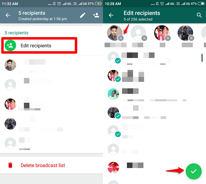 add delete contacts from broadcast list