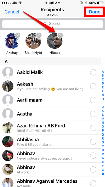 add or remove people from broadcast list