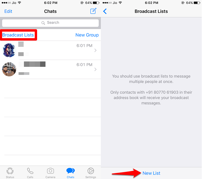 setup broadcast list in iPhone