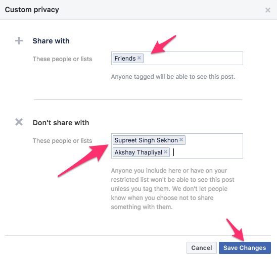 Hide Facebook friend list from specific friends