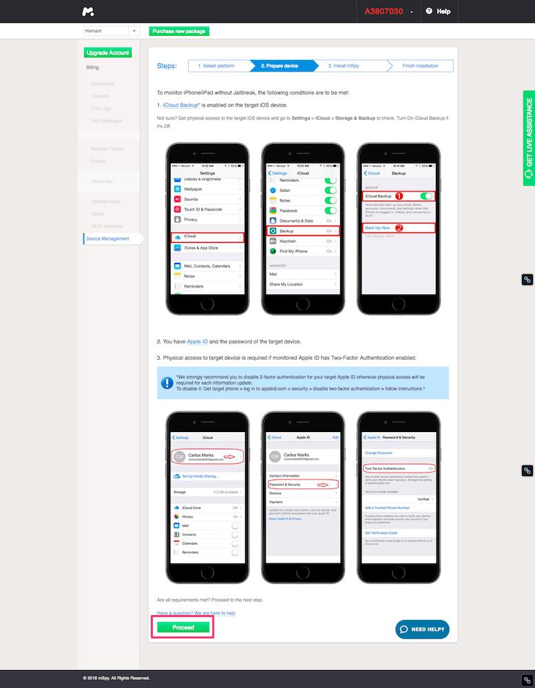 Add Target iOS device to mSpy account
