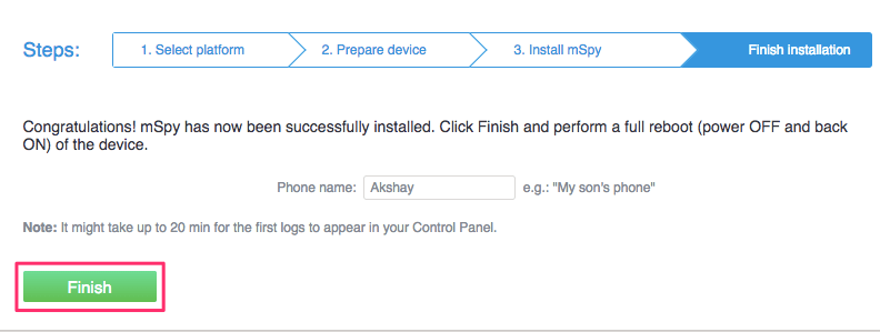 Add target Android phone to mSpy account