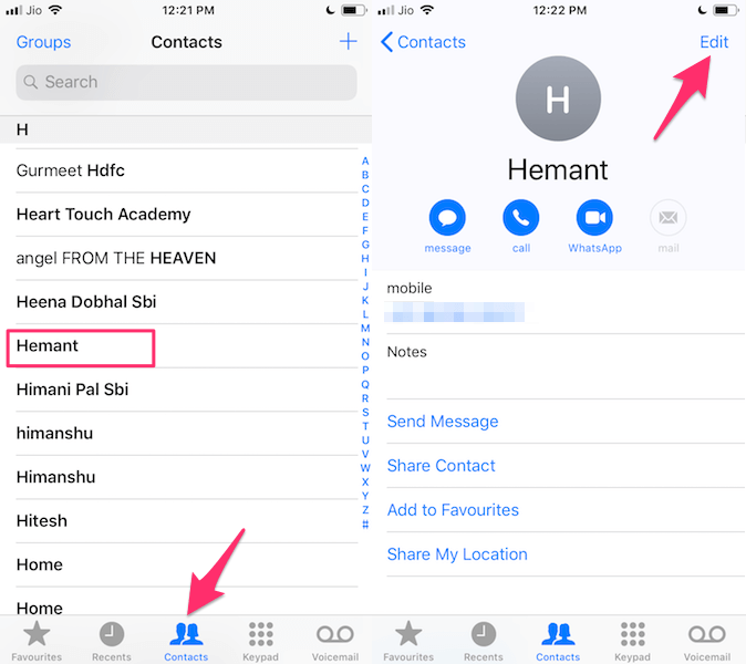 Edit contact card on iPhone