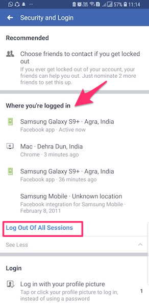 Remotely Log Out of All Facebook Sessions Android