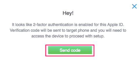 Send Code for two factor authentication iOS - mSpy