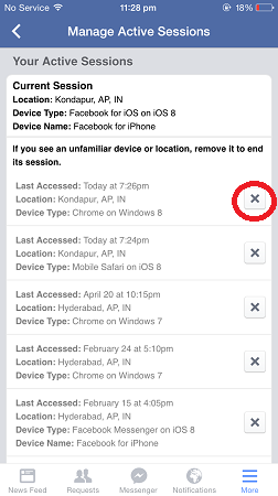 how to remotely log out of facebook - iphone active sessions