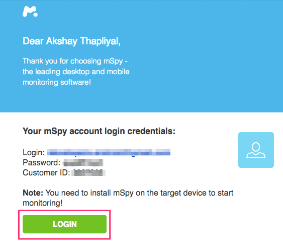mSpy Account Login Details