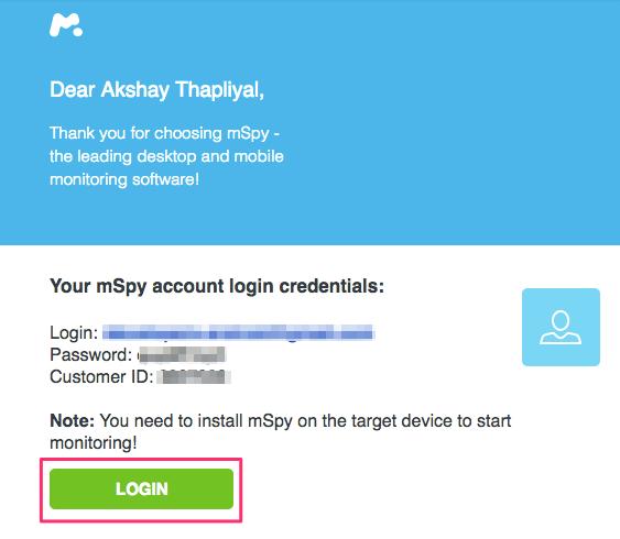 mSpy Account Login Details