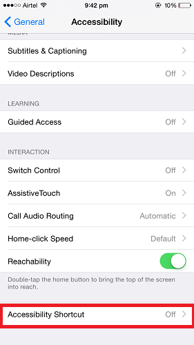 Turn On/Off Assistive Touch in iPhone