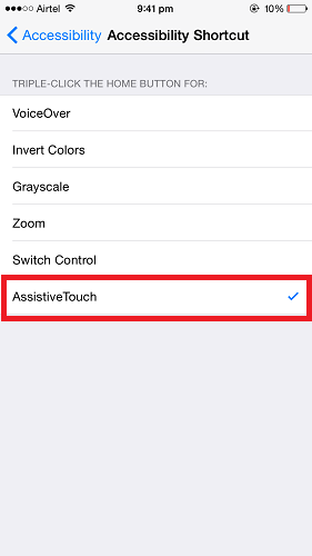Turn On/Off AssistiveTouch in iPhone
