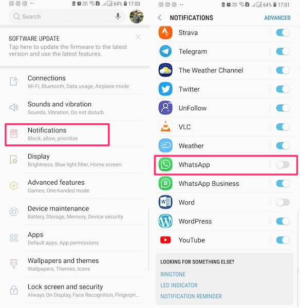 Disable WhatsApp notifications Android