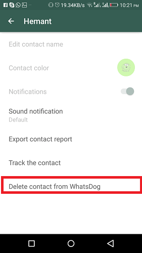 Remove Contact from WhatsDog