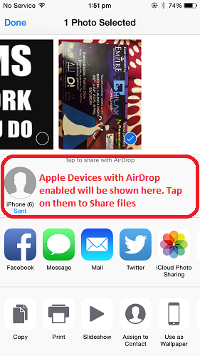Share files between iPhone