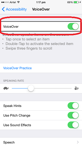Disable VoiceOver in iPhone/iPad