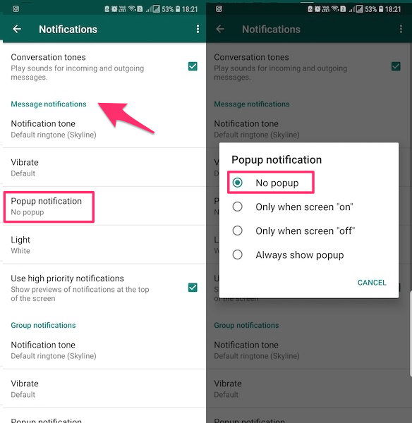 WhatsApp pop up notifications