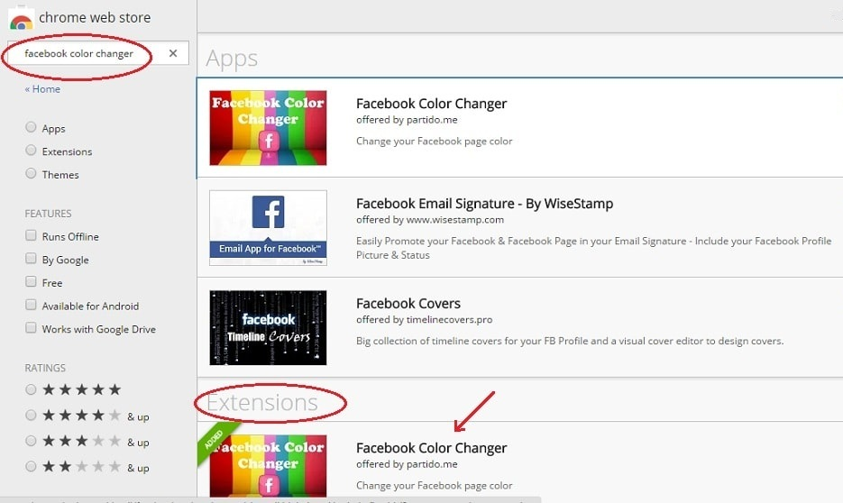 how to change facebook color to any color - extensions