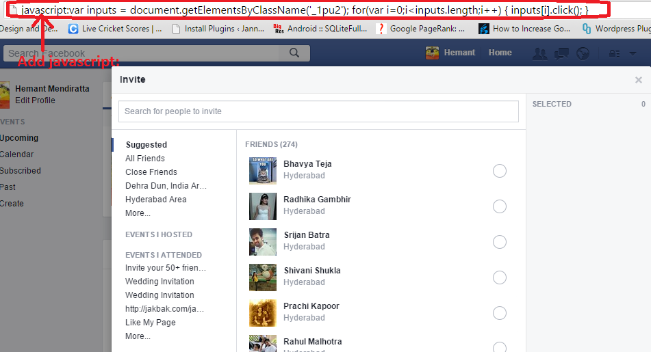 Invite all friends to Event in Facebook at once