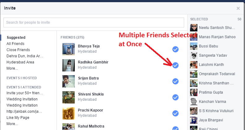 Invite all Friends to Facebook event at once