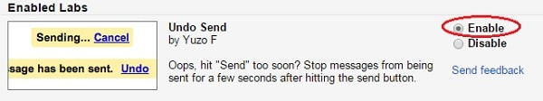 undo a sent email in gmail - undo send option