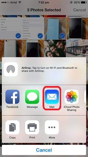 How to send Photos by email on iPhone