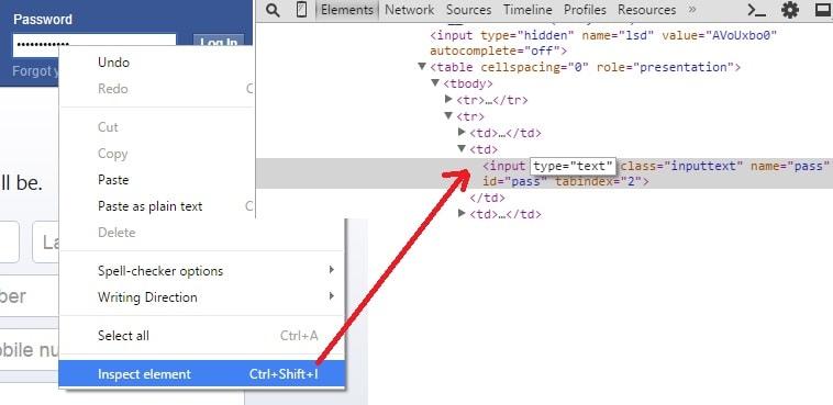 Show hidden password chrome, Firefox