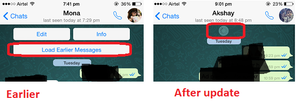 WhatsApp update : ealrier messages loaded automatically
