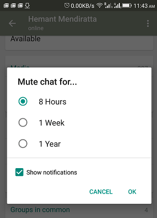 mute individual chat in WhatsApp - mute chat