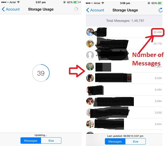 Find number of messages for each contacts WhatsApp