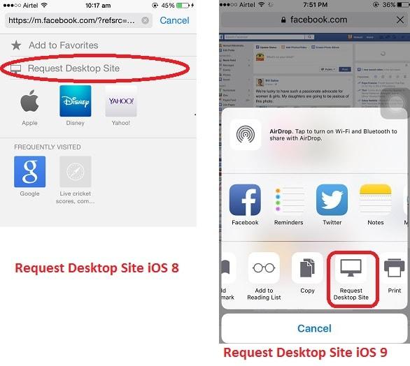 Request Desktop site iOS 9