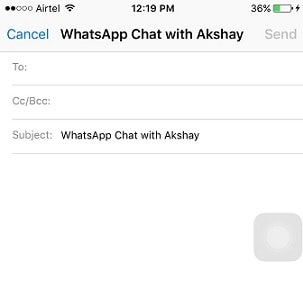 email chats history of WhatsApp in iPhone