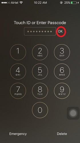 Set custom numeric passcode on iOS 9