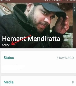 online status in Android whatsapp
