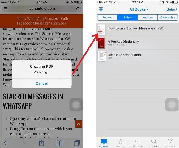 Save webpage to iBooks in iPhone iPad