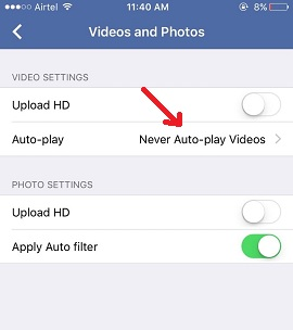 autoplay filter option in Facebook iPhone