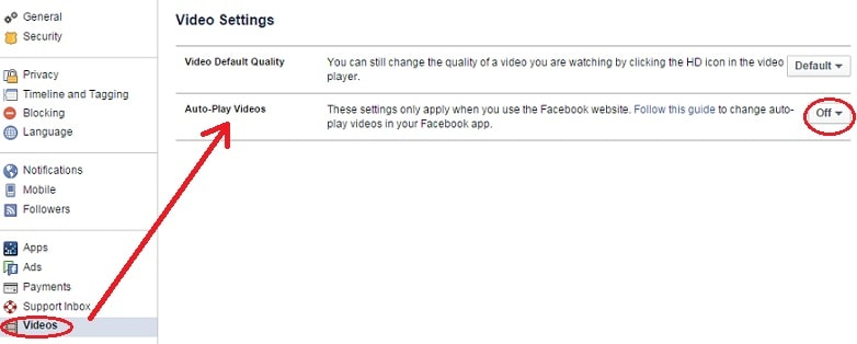 disable autoplay videos on Facebook