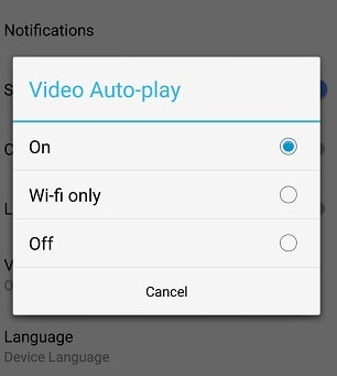 option to turn off autoplay videos in Facebook android